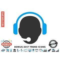 Operator head flat icon with 2017 bonus trend vector