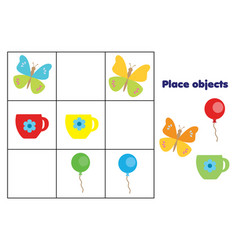 Place objects on places educational children game vector