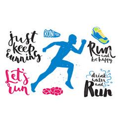 running marathon logo jogging emblems label and vector image vector image