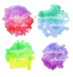Set of colorful brush splatters vector image