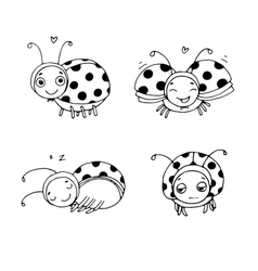 Set of ladybugs Hand drawing isolated objects vector image