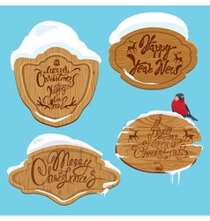 Set of Wooden frames with snow vector image vector image