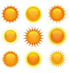 shiny suns set vector image vector image