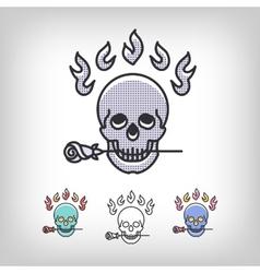 skull logotype design set line art icon vector image