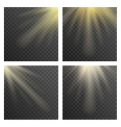 Sun beams or rays on transparent checkered vector