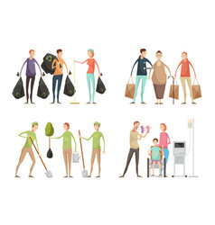 volunteering situations set vector image