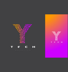 y letter logo technology connected dots letter vector image vector image
