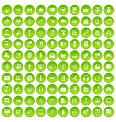 100 web development icons set green circle vector