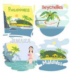 Digital touristic vacation destination set vector