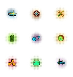 Renovation for machine icons set pop-art style vector