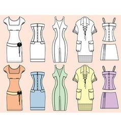 Retro Woman Design Dresses vector image