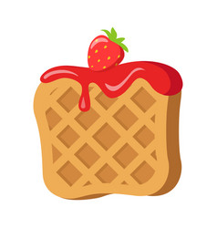 Sweets belgian waffle with red strawberry cream vector
