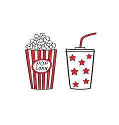 popcorn and drink isolated vector image