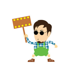 Character cartoon holding an empty sign vector
