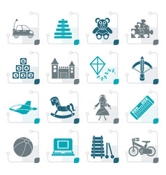 Stylized different kind of toys icons vector