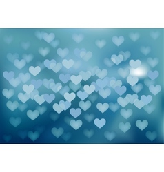 Blue festive lights in heart shape background vector