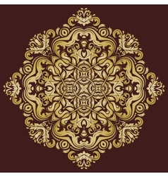 Orient pattern abstract ornament with golden color vector