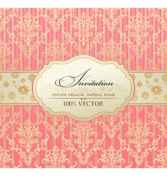 Invitation vintage label vector frame pink vector