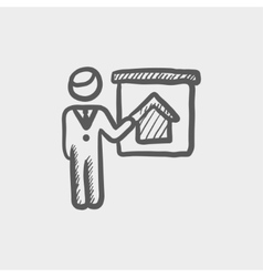 Real estate agent training sketch icon vector