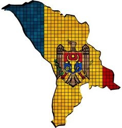 Moldova map with flag inside vector