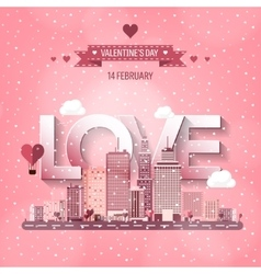 City with hearts love vector