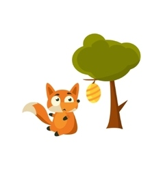 Fox and beehive vector