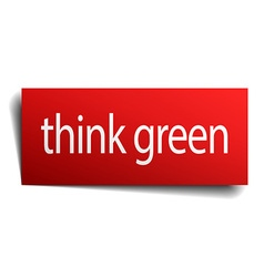 Think green red paper sign on white background vector