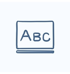 Letters abc on blackboard sketch icon vector