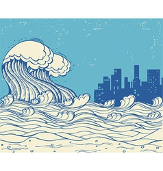 Big waves poster on old paper texture vector