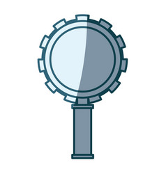 blue shading silhouette of magnifying glass with vector image vector image