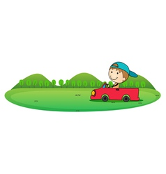boy driving a car vector image
