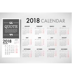 calendar for 2018 template design week starts vector image vector image