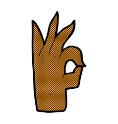Comic cartoon okay hand gesture vector