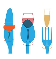 cutlery and glasses menu vector image vector image