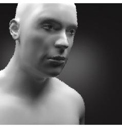 Cyborg android robot humanoid human head 3d vector