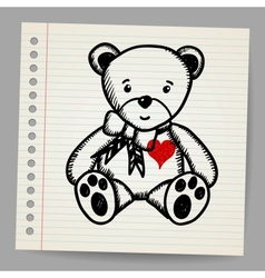 Doodle bear with heart vector image