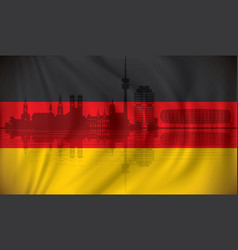 flag of germany with munich skyline vector image