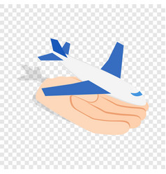 hand holding plane isometric icon vector image vector image
