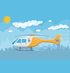 helicopter transport aerial vehicle with propeller vector image vector image
