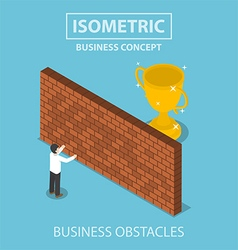 Isometric businessman standing in front of wall vector