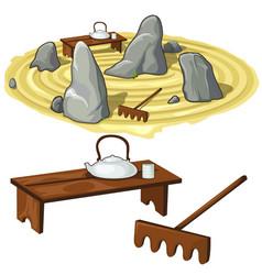 japanese zen garden stones and utensils vector image