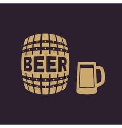 Keg and glass of beer icon cask and barrel vector