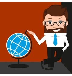 Lucky businessman is presenting a globe vector