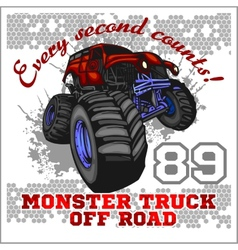 Monster truck - off road badge vector