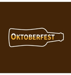 Oktoberfest beer bottle lined icon flat design vector