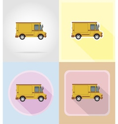 Old retro transport flat icons 14 vector