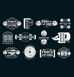 Powerlifting emblems and badges vector
