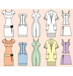 Retro Woman Design Dresses vector image vector image
