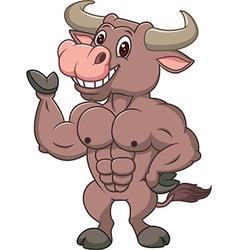Smiling bull mascot presenting islated vector
