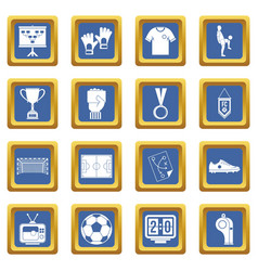 Soccer football icons set blue vector